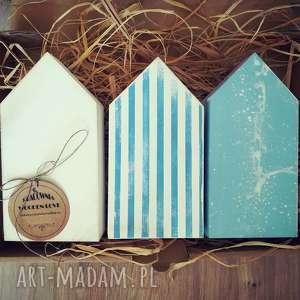 3 domki drewniane, domki, domek, drewniany, morski, żagle, morze