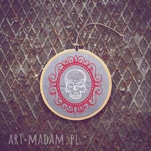 obrazek haftowany czaszunia - ,obrazekhaft,tamborek,zapętlonanitka,czaszka,vintage,