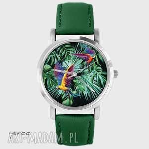 Zegarek - Papugi, tropikalny- skórzany, ciemno zielony, palmy, zegarek, bransoletka