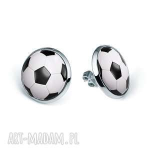 kolczyki sztyfty z grafiką football, piłka, nożna, sport, boisko, prezent