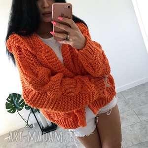 obłędny ciepły sweterek z kapturem modny kardigan orange manzana, sweterek