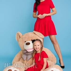 sukienki komplet dla mamy i córki, sukienka z falbanką, czerwony, sukienka
