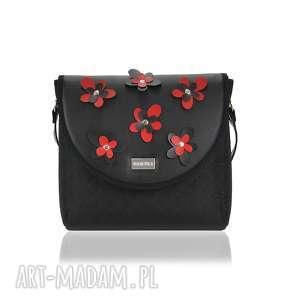 torebka puro classic 2303 flower decoration black and red, classic