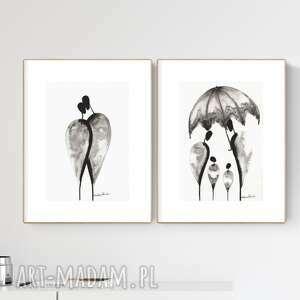 zestaw 2 grafik a4 wykonanych ręcznie, grafika czarno-biała, abstrakcja, 2614077