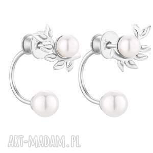 srebrne kolczyki gałązki z perłami swarovski® crystal sotho