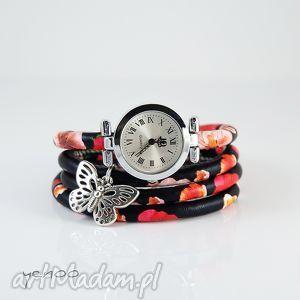 zegarki zegarek, bransoletka - czerwone kwiaty owijany, maki, motyl, zegarek