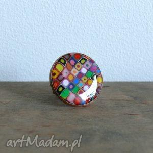 Prezent Kolorowy pierścionek z polymer clay, pierścionek, kolorowe, tęczowe, żywica