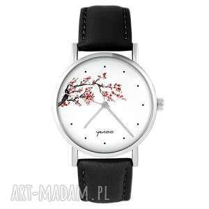 zegarki zegarek yenoo - kwitnąca wiśnia skórzany, czarny, zegarek