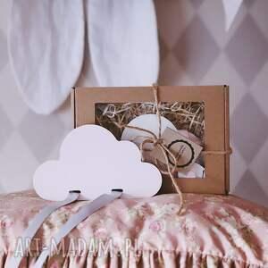 handmade pokoik dziecka drewniany organizer na spinki biała chmurka