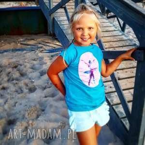 bluzki letnia bluzeczka dla dziewczynki z aplikacją baleriny, niebieski