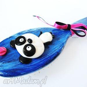 hand-made ozdoby do włosów szczotka do włosów panda