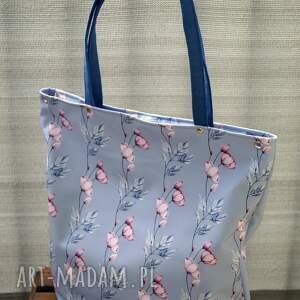 kwiatowa wodoodporna torba na ramię xl, worek ramię, miejska torba