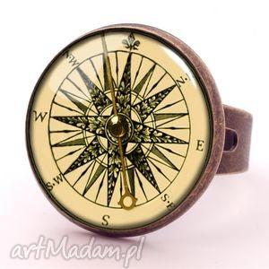 kompas - pierścionek regulowany, vintage, busola