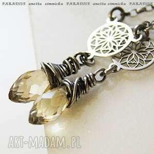 srebro, kolczyki - kryształy lemon w srebrze, kryształ, zawieszki