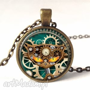kot - medalion z łańcuszkiem - mechanizmy naszyjnik, steampunk