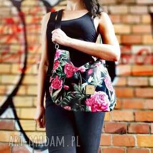 na ramię hobo mini piwonie czarnym, torba hobo, torebka worek, welurowa