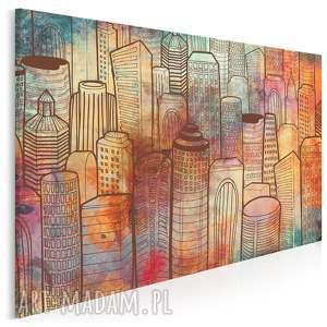 obraz na płótnie - kolorowe wieżowce 120x80 cm 57501, wieżowce, budynki