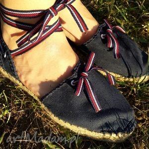 buty espadryle damskie marine granatowe z paseczkami, espadryle