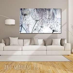 obraz xxl dmuchawce 10 -120x70cm na płótnie szarości, obraz, kwiaty