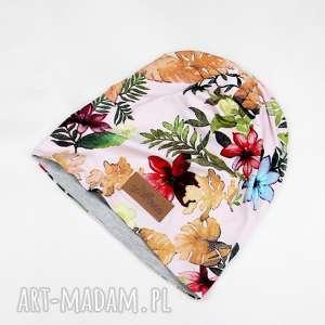 kolorowa czapka w kwiaty beanie liście - czapka, beanie, kwiaty, kolorowa, unisex