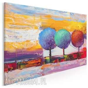 obraz na płótnie - drzewa kolorowy artystyczny 120x80 cm (89601)
