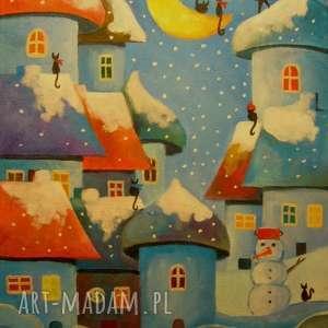 obrazy obraz na płótnie - zima w bajkowym miasteczku 30/40 cm, abstrakcja