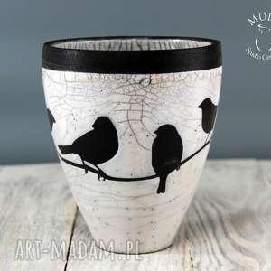 wazon osŁonka raku wrÓbelki - raku, osłonka, wazon, ceramika-raku, ceramika