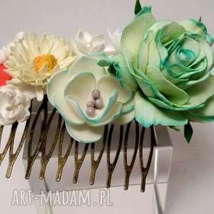 komplet mama i córka grzebyk opaska z elastycznej koronki kwiatami, kwiaty, sesja