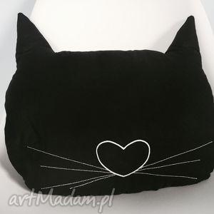poduszka głowa kotka czarna - ,kot,haft,kotek,poduszka,czarna,