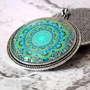 Prezent turkusowa mandala - piękna broszka, turkus, niebiski, modna, mandale, broszka