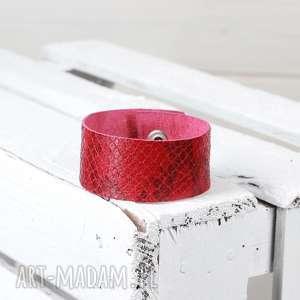 hand-made skórzana bransoletka czerwona wiśniowa