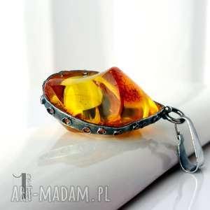 Prezent Słoneczny klejnot srebrny wisior z bursztynem, bursztyn, zawieszka