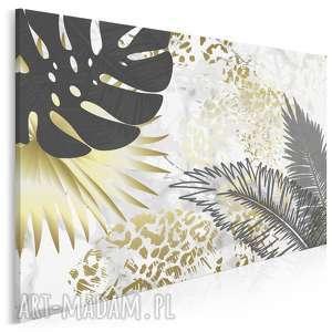 obraz na płótnie - liście złoty tropikalny 120x80 cm (89402)