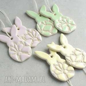 Wielkanocne zajączki, zajączek, wielkanoc, zawieszka, ceramika, ozdoba, folk