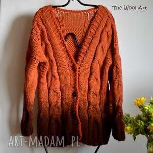 swetry brązowy sweter ombre, ubranie, sweter, kardigan, rozpinany
