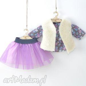 liliowa tutu tunika łączka, ubranka, lalki, spódniczka, fioletowa,
