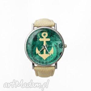 kotwica - skórzany zegarek z dużą tarczą - marynarski