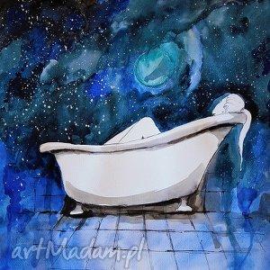 akwarela w wannie ii artystki adriany laube, akwarela, wanna, kosmos, kąpiel