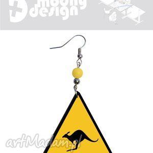 uwaga kangury, kolczyki, decoupage, trójkąt, trójkąty, kangur, znak