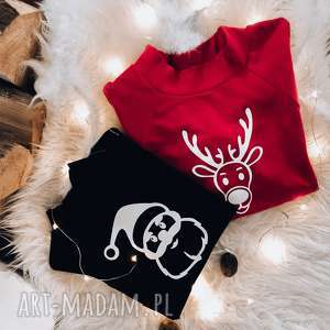 świąteczna bluzka dla dziecka mikołaj slow village, bluza czarna
