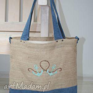 Marynistyczna torba jutowa , kotwice, torba, siatka, zakupy, kotwice