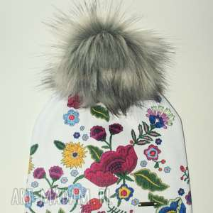 Prezent Czapka beanie pompon z futra, kwiaty, nadruk, prezent, urodziny, czapka, folk