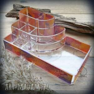 ręcznie malowany organizer różowy sztorm, organizer, make, up, piórnik, przybornik