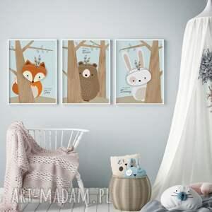 Zwierzątka leśne, tryptyk A3, plakat, dziecko, ozdoba, skandynawski, druk