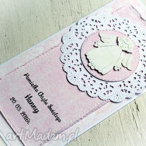 ręcznie robione scrapbooking kartki pamiątka chrztu personalizowana różowa