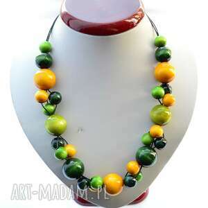Limonkowe zielone żółte klasyczne korale drewniane pmpb style