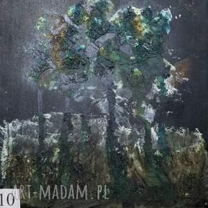 zielone drzewa, pasta, obraz, abstrakcja, nowoczesny