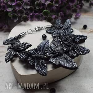 bransoletka czarne motyle, z motylami