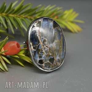 elegancki pietersit pierścionek rmil, w srebrze, srebrny