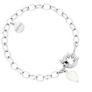 ręczne wykonanie bransoletki srebrna masywna bransoletka z ozdobnym zapięciem i naturalną perłą